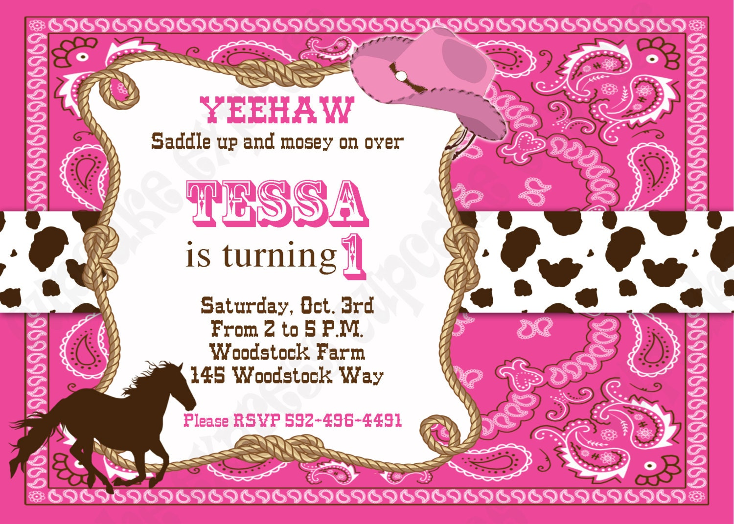 cowgirl invitation printable birthday party pink brown horse