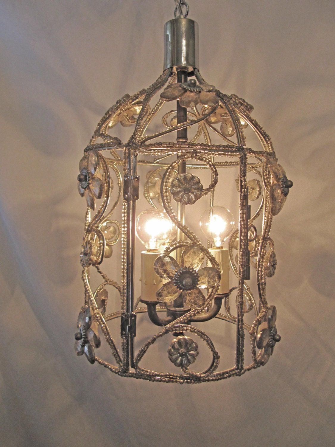 Chandelier bird cage fixture custom repurposed 3 lights nickel - Chandelier glass beads ...