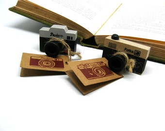 Vintage Style Camera Mini Wood Mounted Rubber Stamps Set of 2