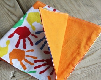 Lunchbox Napkins - Set of 2 - Colorful Hands with Orange