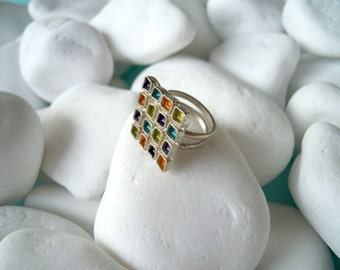 Silver ring with enamel - 18030