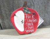 Pre K Teacher Gift Apple Salt Dough Ornament / Teacher Thank You