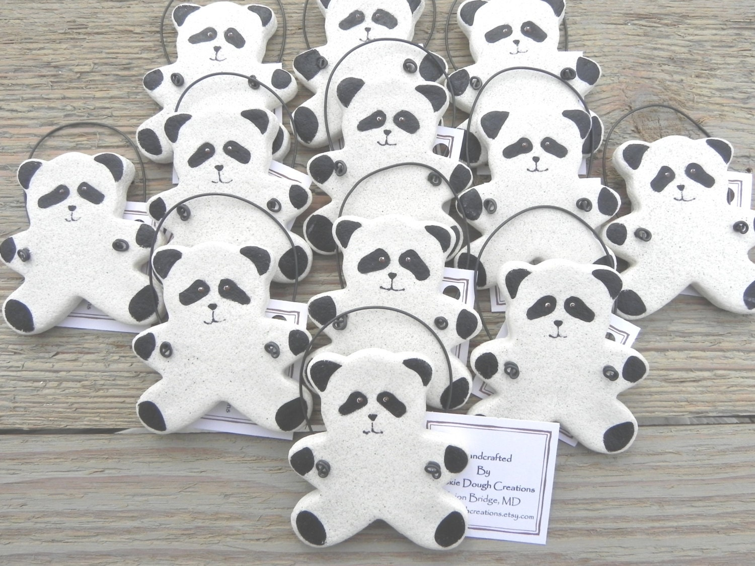 Panda Bear Baby Shower Set Of 10 Salt Dough Ornaments Party