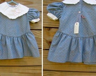 "1960's ""Lil"" Airess Size 2T -  Bibbed Blue Dress"