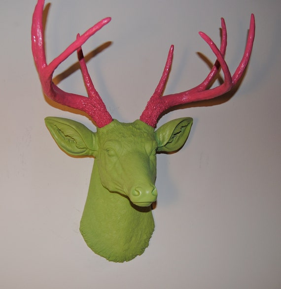 The Preppy Deer - Pink and Green Faux Deer Head Wall Mount - Deer Head Antlers Faux Taxidermy