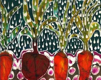 Garden in Summer Rain - Art fabric from original batik  - Quilting