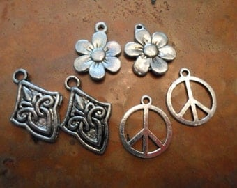 Tibet Silver Mixed Charms Lot of six