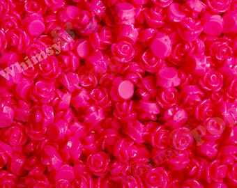 7.5mm - Hot Pink Teeny Tiny Rose Resin Cabochons, Tiny Flower Cabochons, Rose Shaped Flatback Cabochons, Tiny Flatback Roses 7.5mm  (R3-037)