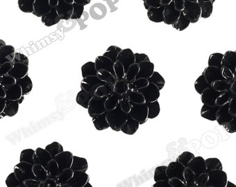 15mm - Midnight Black Chrysanthemum Flower Cabochons, Dahlia Flatbacks, Mum Shaped, (R3-111)