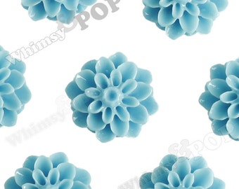 15mm - Baby Blue Chrysanthemum Flower Cabochons, Dahlia Flatbacks, Mum Shaped, (R3-105)