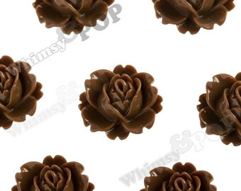 Chocolate Brown Peony Flower Cabochons, Vintage Peony, Orchid Cabochons, 18mm x 16mm (R3-023)