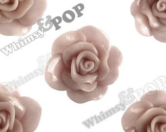 Large Dusty Mauve Rose Cabochons, Flower Cabochons, Flower Cabs, Rose Flatback, 30mm x 28mm (R3-063)
