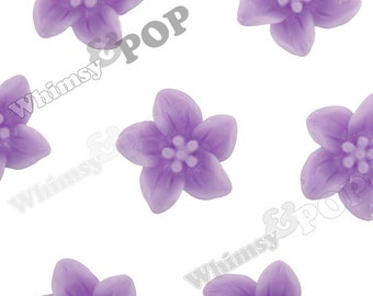 Lavender Purple Lily Flowers, Flower Cabochons, Lily Cabochon, 13mm x 5mm (R2-092)