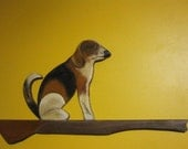 Folkart Beagle and Rifle wallhanger