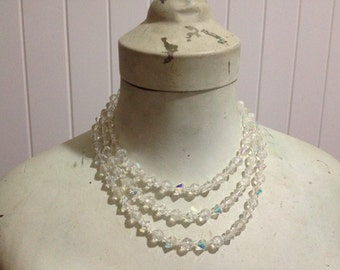 Authentic Vintage Clear Crystal Three Strand Necklace
