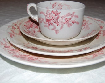 Vintage Rose China Place Setting- Shabby Chic Wedding Tea Party red rose
