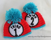 Thing 1 Thing 2 Twin Baby Hats in Red, Turquoise, Black, and White inspired by Dr Seuss