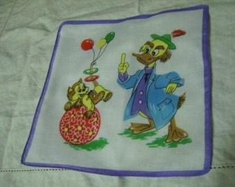 Vintage Walt Disney Duck Character Cotton Hankie Handkerchief