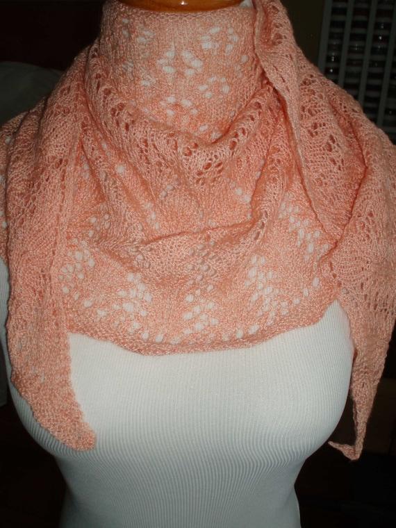 Peachy Lace Shawlette Wrap