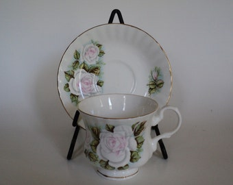 Vintage Tea Cup Hitkari Potteries White Rose Bone China Tea Cup and Saucer