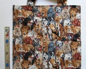 Dog Fabric Tote Bag, Shopping Bag,Library Book Bag, Grocery Bag, Washable, Green, Reusable