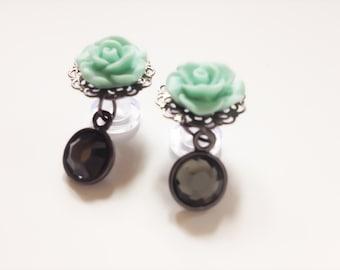 6g Dangle Plugs Rose Plugs 24 Custom Colors Gauged Earrings 4mm Ear Plugs, Dangly Plugs 6 Gauge Body JewelryTurquoise Mint Pink