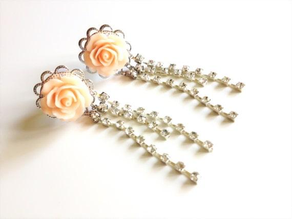"Wedding Gauges 1/2"" Bridal Dangle Plugs Rhinestone Rose Gauges Dangle Plugs 12mm, 9/16"" 14mm 24 Colors 000g 7/16"" Crystal Ear Plug Piercing"