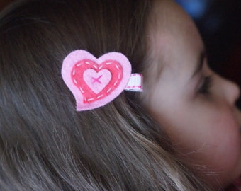 Adorable Heart Hair Clip - Meet Heartie (red and white)