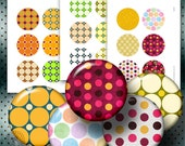 """Polka Dot - Digital Collage Sheets CG-649 - 2.625"""" Circles for 2.25"""" Mirrors, Buttons, Magnets"""