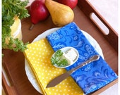 Fabric Table Napkins    French Country   Set of 4  Wedding Gift   Blue and Mustard Yellow