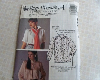 1989 Size 20 Busy Woman's 4086 Pattern by Nancy Zieman for McCall's - Misses' Blouse and Jabot Sewing Pattern Supply Misses Blouse Pattern f