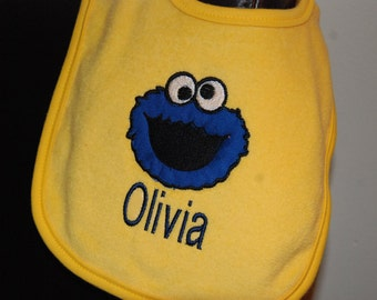 Cookie Monster Inspired Embroidered Personalized Bib