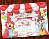 Clown Circus themed invitation