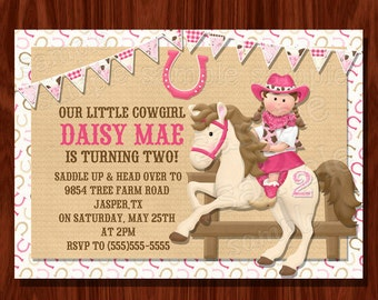 Cowgirl Themed Birthday Invitation printable digital file