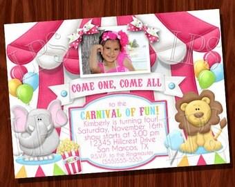 Circus Carnival Birthday Invitation PRINTABLE Digital File