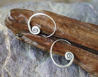 Silver Spiral Earrings - The Beginning of Life(3)