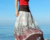 Women Skirt Floral Long Skirt/ Fall Party Maxi Skirt Gifts Idea Skirt Chiffon Summer Boho Hippie