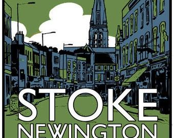 Vintage style screenprint poster - Visit Stoke Newington by Motor Bus 73