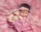 Newborn Pink Rose Plaited Tieback. Baby Rose Headband. Baby Rose Halo. Newborn RoseHeadband Photography Prop.UK SELLER