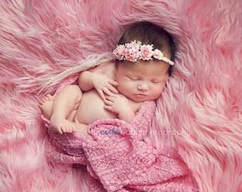 Newborn Pink Rose Plaited Tieback. Baby Rose Headband. Baby Rose Halo. Newborn RoseHeadband Photography Prop.UK SELLER