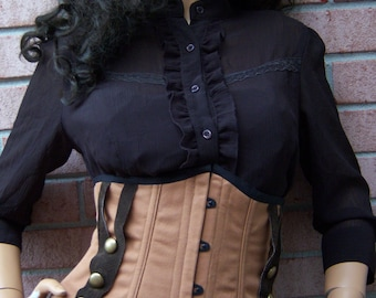 MADE TO ORDER Tan, Brown, & Black Edwardian Inspired Steampunk Underbust Corset