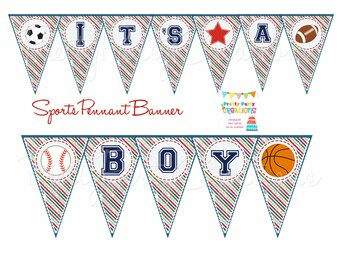 SPORTS pennant banner - baby shower or birthday - YOU PRINT