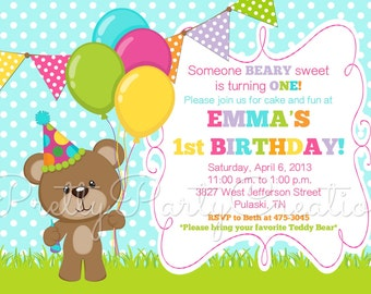 GIRL BIRTHDAY BEAR invitation - You Print  - 3 to choose - with or without photo
