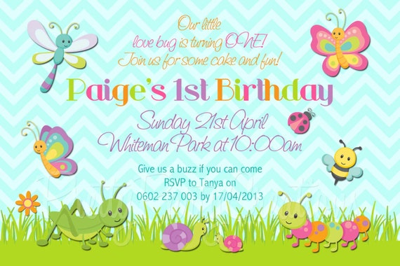 LOVELY BUGS invitation - YOU Print