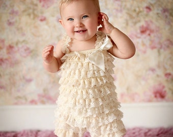 petti lace romper- champagne lace romper- baby romper- ruffle romper- girl romper- baby clothes- vintage inspired baby romper- baby girl