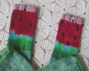"""Tie dye socks- women / men / teen, over-the-calf tube socks, """"Watermelon Whimsy"""",  1000"""