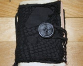 Black Rugged Cotton Canvas / Fishnet / Bamboo Lined Note Book with Pocket, Feather, Pearl, Brass Skull and Cross Bone, Recycled Paper