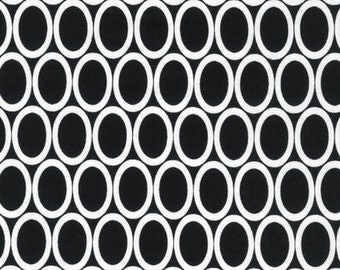 Half Yard Remix Ovals in Black, Ann Kelle for Robert Kaufman Fabrics, 100% Cotton Fabric