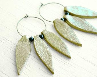Golden leather petals earrings