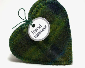 Hand Warmers BLUE GREEN PLAID Hearts Eco Guy Gift Masculine Gift